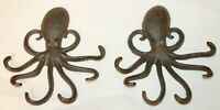 2 Heavy Cast Iron Octopus Towel Hanger Coat Hooks Hat Hook Key Rack Nautical