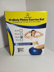 Pro Body Pilates Exercise Ball Anti-Burst, Yoga Fitness Balance 65cm Pump Incl.