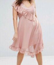 ASOS Curve Asymetric Metallic Midi Dress Size 28 Party Season Going Out Dresses