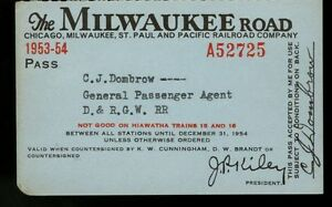 Chicago Milwaukee St Paul & Pacific RR Co, 1953-1954, #A52725, annual pass