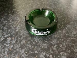 Retro Collectable Carlsberg Brewery Green Glass Ash Tray, Home Bar, Pub