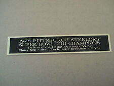 Pittsburgh Steelers Super Bowl 13 Nameplate For A Football Jersey Case 1.5 X 6