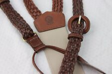 Torino Oxblood Brown Woven Braided Leather Buckle Adjusted Suspenders USA Made