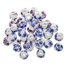 40Pcs Purple+ Blue Flower Ceramic Charms Porcelain DIY Loose Spacer Bead