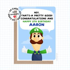 Personalised Luigi Birthday Card - 1-UP Mushroom Luigi Super Mario Toad Themed