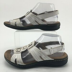 Clarks Womens 7.5W Open Toe Studded Slingback Comfort Sandals White Leather