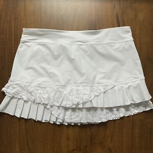 Sofibella Women's Size Large White Ruffled Tiered Tennis Skirt Skort