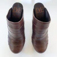 DVF Diane Von Furstenberg Leather Stacked Heel Wedge Clogs, Size 8