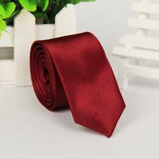 Skinny Slim Tie Solid Color Plain Silk Men's Jacquard Woven Wedding Necktie 5CM