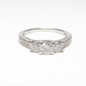 Estate 14K White Gold 0.33 Ct Round Brilliant Cut Diamond Ring 0.90 Cts Total