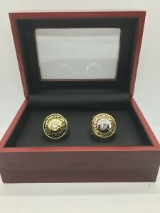 Set of 2 1970 1973 New York Knicks Championship Ring Set with Wooden Display Box