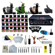 Complete Tattoo Kit 3 Tattoo Machine LCD Dual Power Supply 28 Ink Tattoo Needles