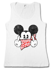 FU MOUSE TANK TOP Women GYM FITNESS Comic Gangster F*** You Mickey TV Fun