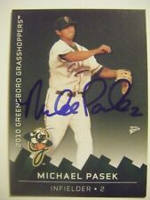 MICHAEL PASEK signed 2010 GREENSBORO baseball card AUTO APPLE VALLEY CA HS MIKE