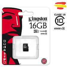 TARJETA MEMORIA 16GB KINGSTON CLASE 10 45MB/s MICROSD 16 GB MICRO SD 32 s/a