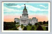 Springfield IL, State Capitol, Lincoln Statue, Vintage Illinois Postcard