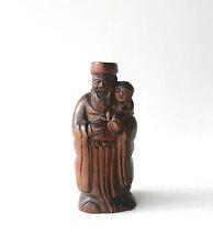 Chinese or Japanese Netsuke Boxwood Wood Fu Immortal Kid Figurine Carving Marked
