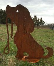 Hund Lucy mit Leine Höhe 50 cm Edelrost  Rost Metall Rostfigur Gartendekoration