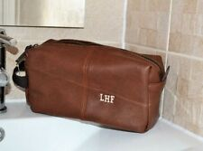 Mens Quality Wash Bag Groomsmen gift Leather Personalised Travel Toiletry.