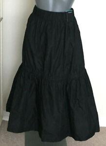 M&S Autograph Size 14 Black Taffeta Pull On Midi Skirt Bnwt