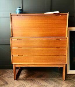 Mid Century Bureau solid teak Turnidge of London Danish style desk retro vintage
