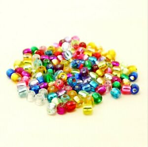 150+ Transparent Colorful Mix Foil Acrylic Pony Beads Kid Crafts 9x6mm USA
