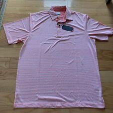 Greg Norman Play Dry Golf Shirt Size Xlarge Nwt Short Sleeve-Melon/White Stripe