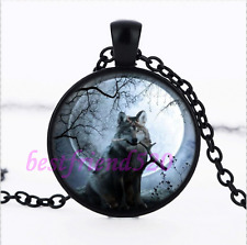 Moonlight Wolf Photo Pendant Black Necklace for man woman Jewelry