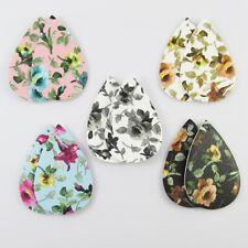 Bulk 10pc Watercolour Flower Print Charm Pendant Teardrop PU Leather Pick Colour