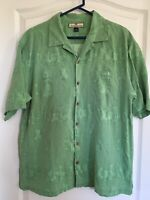 Tommy Bahama Mens Hawaiian Camp Shirt Green Hula Girl Cocktails 100% Silk Large