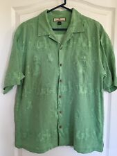 2dd0a018 Tommy Bahama Hawaiian Shirt Mens Green Hula Girl Cocktails Large 100% Silk