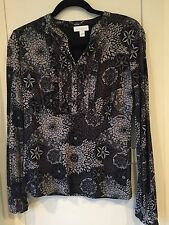Charter Club Women's Shirt Blouse Sz Small Black Grey Floral NWT MSRP $49 Macy's