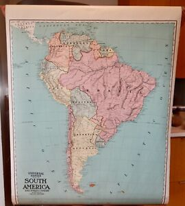 South America Antique Vintage Rand McNally Pull Down Wall Map - 82661