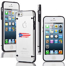 For iPhone SE 5 5s 6 6s 7 Plus Clear Hard TPU Case Cover Puerto Rico Rican Flag