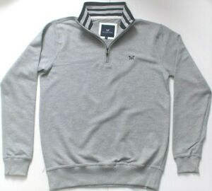 Mens Genuine Crew Clothing Grey Marl Half Zip Sweatshirt XS, S, M, L, XL,XXL 3XL