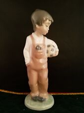 """Vintage Nao by Lladro Wanna Play Boy with Soccer Ball Figurine Spain 7.5""""h"""