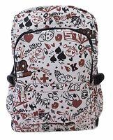 BROWN GRAFFITI Pattern Backpack Rucksack Bag School College Cool Emo Goth Bag