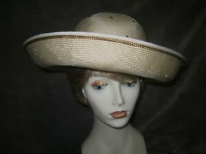 Kokin Ivory Straw Portrait brim hat with gold underbrim and band piping
