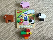 Busy Farm Lego Duplo Book & Bricks; Rooster Pig Sheep Cow; Excellent Condition