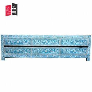 Pandora Bone inlay Blue Floral 6 Drawer TV Unit (MADE TO ORDER)