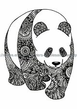 "US SELLER, bodyart black floral panda 8.25"" large arm temporary tattoo"