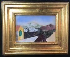 Italian Pietra Dura Stone Framed Plaque Signed M. Cheria? Landscape