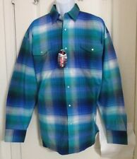 Roper Men's Shirt Plaid Pearl Snap Buttons Long Sleeve Size XL Blue NWT
