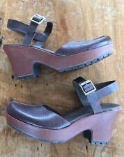Korks Kork-ease mary janes clogs slingbacks platform dark brown leather 10 42