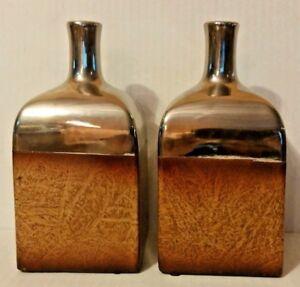 Three Hands Two-Tone Square Brown Mirror Top Porcelain Ceramic Glazed Vase Set