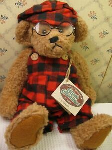 """Ganz Cottage Collectibles ~ Checkers Plush Bear, 12"""" With Tags & Glasses"""