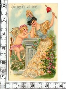"""SER.703 - """"To my Valentine""""  Angel / Cupid with Pretty Woman - Gold Embellished"""