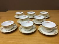 """Vintage 1930's NORITAKE """"M"""" China (8 Sets) Footed Cups & Saucers - Excellent"""
