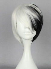 Half Black mix White Short Wig Anime Cosplay Cruella DeVille wig
