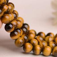 "Hot Natural Tiger's Eye Gemstone Round Loose Spacer Beads 15"" 4/6/8/10mm Gift"